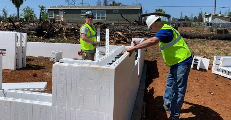 ICF installation at the Habitat for Humanity rebuild in Paradise, Calif.